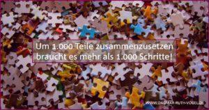 Um 1.000 Teile zusammenzusetzen braucht es mehr als 1.000 Schritte